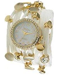 Ginebra tres cuerda Wrap reloj dorado y blanco