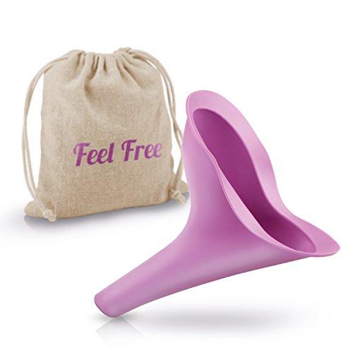 Urinal-tasche (Avaroo Care Damenurinal / Urinella als hygienische Pinkelhilfe für unterwegs – das Frauenurinal zum pinkeln im Stehen oder Hocke – Urinal in lila mit Tasche)