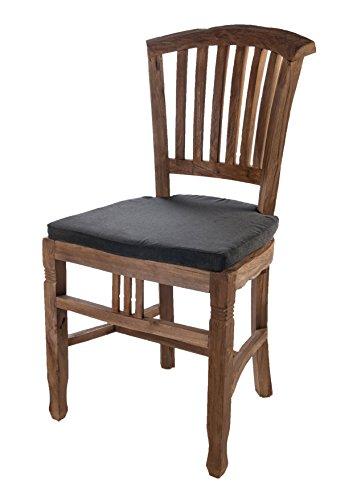 SalesFever Holz-Stuhl aus recyceltem Teak-Holz mit Sitzkissen aus Textil schwarz 50x95 cm | Oceandrift | Rustikaler Teakholz-Stuhl aus Massiv-Holz Natur 50cm x 95cm -