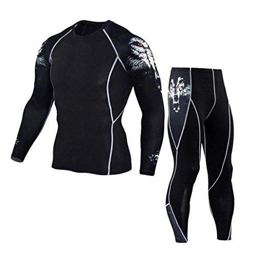 Herren Laufhose/ Herren Jogginghose,Bovake Mann Workout Leggings Fitness Sport Gym Running Yoga {Sporthose} + {Shirt Suit} (White, L)