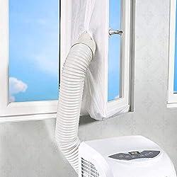 FENSIN Chicane de cachetage de fenêtre de sas pour les climatiseurs mobiles et le dessiccateur d'air d'échappement +1 rouleau de ruban adhésif