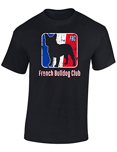 Maglietta: French Bulldog Club - Bulldog Francese - Idea Regalo per Amanti dei Cani - T-Shirt Divertente - Maglia Cane - Francia - Dog - Animale Domestico (L)