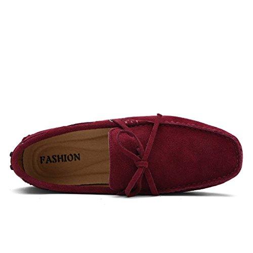 ... SGoodshoes Homme Confort Flâneur Cuir Conduire Voiture Mocassins  Chaussures Bateau Rouge ...
