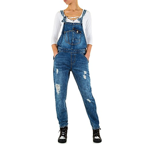 Damen Jeans Destroyed Latz Skinny Blau XS