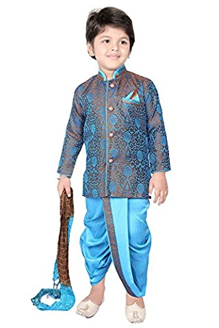Dhoti Combo Sherwani Suit Pyjama Wedding Indian Party Wear Boys Toddler Infant Ethnic Cowl Pant Traditional Wear (DC-9988-TORBRO-00)