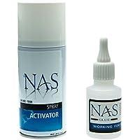 NAS Incollatura Kit Superglue Cianoacrilato Adesivo 50g e Attivatore Spray Spray 150ml per accelerando l'incollaggio di colla super - alta qualità prodotto prodotto in Germania - Igienici Professionale