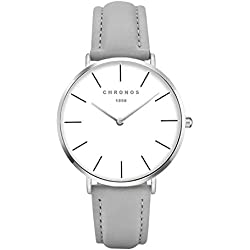Fashion Women Quartz Watch PU Leather Strap Ladies Girls Dress WristWatch,Grey-Silver