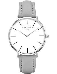 Mode Schöne Damenuhren Quarzuhr PU Uhrenarmband Kleid Armbanduhr Armbanduhren für Damen Armbanduhren für Mädchen,Grau-Silber