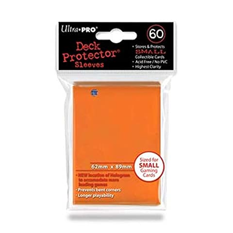 Trading Card Sleeves - 60 Ultra Pro Small Orange Deck Protectors YuGiOh! Sized by Ultra Pro Deck Protectors (Small)