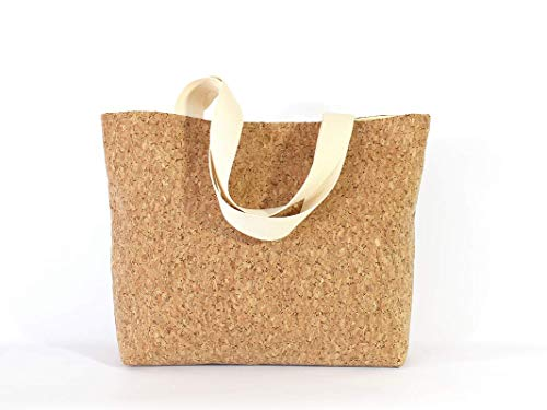 große braune Tasche aus Kork, veganer Shopper - 2