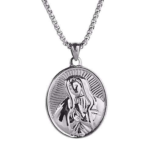 Inveroo Virgen María María Oval Medalla Milagrosa Colgante Collar De Acero Inoxidable para Hombres Mujeres