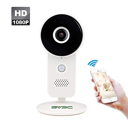 Sv3c 1080p ip telecamera di sorveglianza wireles, videosorveglianza wifi interno con angolo di visione di 160°, visione notturna,audio bidirezionale, rilevatore di movimento, registrazione su micro sd