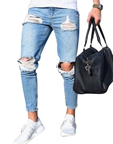 Byqny strappati jeans da uomo comfort gamba dritta pantalone da fit elasticizzati da denim skinny slim stretch