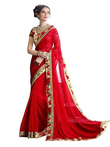 Rajeshwar Fashion Women\'s Georgette Saree With Blouse Piece (KAJU KATRI PEACH _Multi-Coloured_ Free Size)