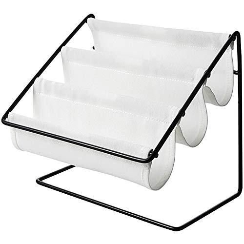 Oyria Tischplattenschmiedeeisen-Kleinigkeiten-Organisatoren, Glasrahmen-Speicher-Gestell-Haushalt-Schlafzimmer-Wohnzimmer-Rückstand-Briefpapier-Speicher-Gestell-Schicht-Stand, weiß