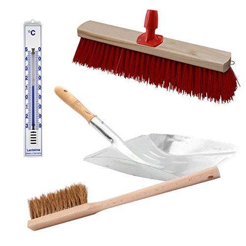 Komplett Straßenbesen , Handfeger , Schaufel , Stielhalter Set . 4 teilig mit Holz Besen , Metall Schaufel , Holz Hand Feger und Stiel Halter . Zusätzlich Analog Thermometer (SB711) Kunststoff weiß
