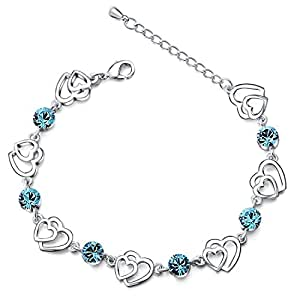 Silver Swarovski Elements Crystal Interlocking Heart Bracelet for women teenage girls, with a Gift Box, Ideal Gift for Birthdays / Christmas / Wedding---Blue, Model: X11990