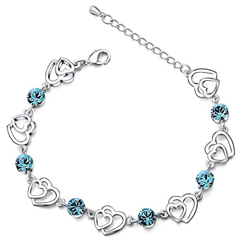 Silver Swarovski Elements Crystal Interlocking Heart Bracelet for women teenage girls, with a Gift Box, Ideal Gift for Birthdays / Christmas / Wedding---Blue, Model: X11990
