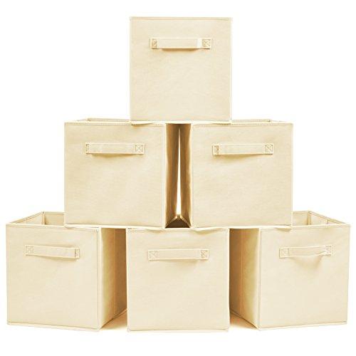 EZOWare Aufbewahrungsbox, 6er-Set Aufbewahrungskiste ohne Deckel - Beige