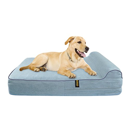 KOPEKS Orthopädisches Hundebett aus Memory-Schaum mit Kissen und wasserdichtem Futter & Anti-Rutsch-Boden Therapeutische Matratze