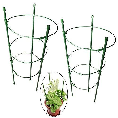 PERTTY Vine-Gitter Unterstützung 45cm Blumen Pflanzen Käfig Triple Kunststoff Säule mit Eisen Ringe Vine Pflanzen Ständer Topf Klein-Gitter für Haus Garten Balkon (2Stück) (Kunststoff-töpfe Für Pflanzen)