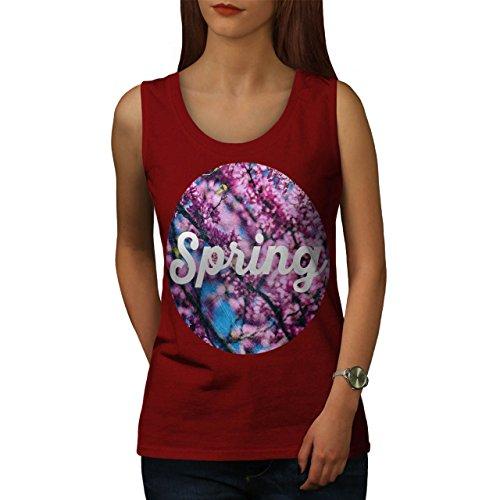 Frühling Jahreszeit Leben Natur Blühen Geburt Damen Schwarz S-2XL Muskelshirt | Wellcoda Rot