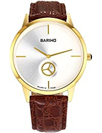 Naivo Men's Quartz Stainless Steel and Leather Casual Color:Brown (Model: WATCH-1067)
