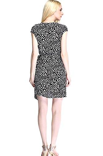 Womdee Damen Elegant Klassisch Punkte Muster V Ausschnitt Kleid Weiß Schwarz