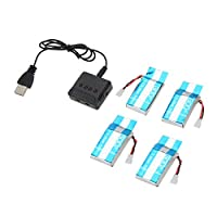GoolRC 4Pcs 600mAh 25C Lipo Battery and X4 Charger for Syma X5C X5SC X5SW Drone Quadcopter