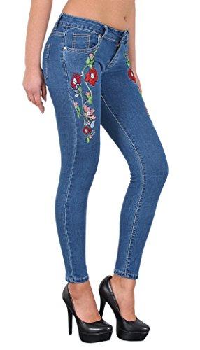 by-tex Damen Röhrenjeans mit Blumen Stickerei Skinny Jeans mit Rosenmuster J274 J274