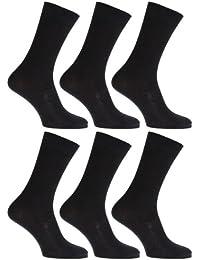 Mens Anti-Bacterial Bamboo Super Soft Work/Casual Non Elastic Top Socks (Pack Of 6)