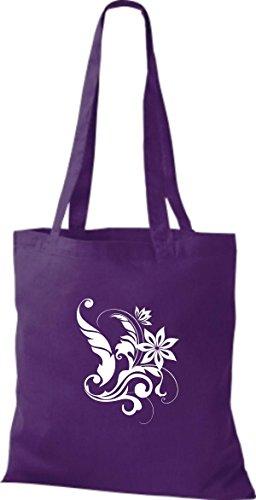ShirtInStyle Stoffbeutel Flower Ornament Blume Baumwolltasche Beutel, diverse Farbe purple