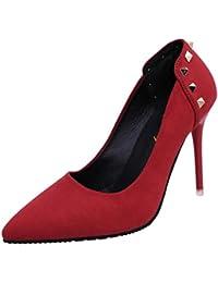 COOLCEPT Mujer Moderno Plataforma Tacon Delgado Alto Bombas Zapatos para Fiesta Extra Tamano (33 EU, Beige)