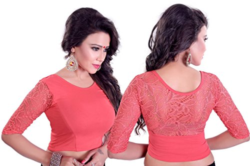 Fressia Fabrics Women's Cotton Saree Blouse (108_Light Pink_Light Pink_Free Size)