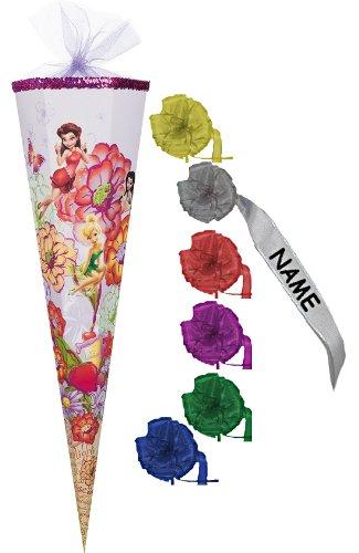 Unbekannt Schultüte - Disney Fairy Fairyland 22 cm - incl. individueller Schleife mit Tüllabschluß - Zuckertüte Nestler Fairies Tinkerbell Fee Elfe Blumen Feen