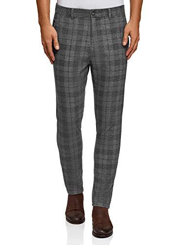 oodji Ultra Hombre Pantalones de Algodón a Cuadros, Gris, ES 40 (M)
