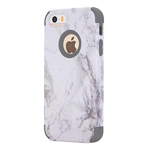 Cover per iPhone SE Marmo case, iPhone 5 5S Cover, Xifanzi iPhone SE Disegno del modello di marmo Custodia ibrida a 3 strati in silicone a prova di collisione per Custodia Cover ibrida a 3 strati in s Grigio