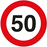 50. Geburtstag Geschenk, Schild - Verkehrsschild (20 x 20 cm), Geschenkidee Geburtstagsgeschenk runder Geburtstag 50er - Geburtstagsfeier, Kleine und süße Überraschung für das Geburtstagskind
