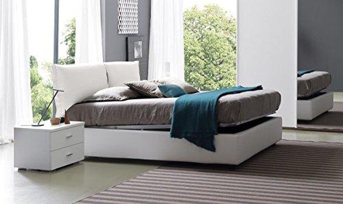 Letto con rete matrimoniale a doghe e contenitore in ecopelle bianca, letto elegante sfoderabile dim 95x175x205 e peso di 110 kg, letto per materasso dim 160x190 non compreso nell'acquisto