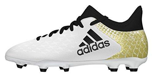 Adidas X 16.3 Fg, Scarpe da Calcio Unisex - Bambini, Bianco (Ftwr White/Core Black/Gold Metallic), 36 2/3 EU