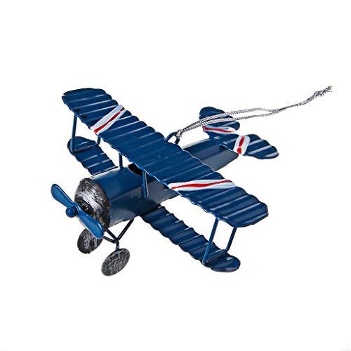 Tanodu Vintage en métal modèle d'avion Avions Planeur biplan Aeromodelo Avion Jouet décoration de la Maison (Bleu)