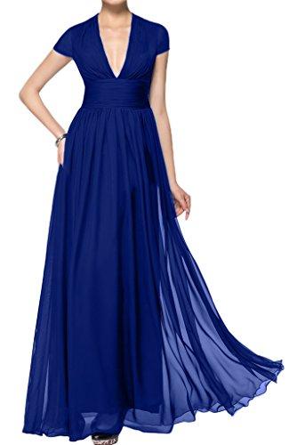 ivyd ressing giromanica scollo a V A-line di lunga Prom abito party sera abito corto da donna blu royal