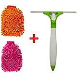 Hojo Micro Fiber Gloves for 2 Pcs +Type Cleaning Brush Glass Wiper Window
