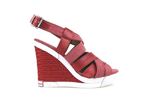 scarpe donna CALVIN KLEIN JEANS sandali zeppe rosso tessuto pelle AH357 (38 EU)