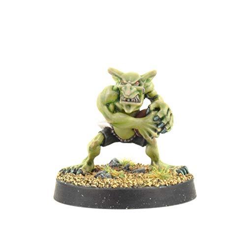 War World Gaming Gutrot Greenskins - Shifty der Catcher - 28mm Fantasie Fußball Miniatur Figur Mini Kobold für Blood Bowl, Lackierbares Sammlerstück Bemalen Gelände Modellbau