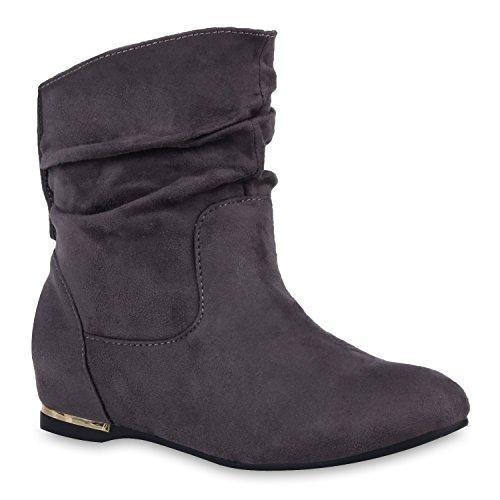 Flache Damen Stiefeletten Wildlederoptik Boots Schlupfstiefel Trendy Grau