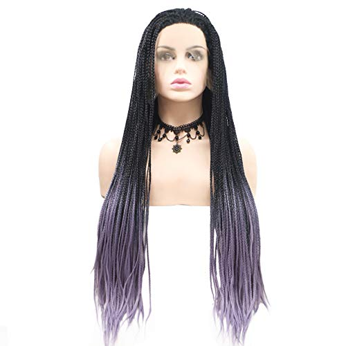 ücken Voll Hand gebundenes Synthetisches Haar Geflochtene Hitzebeständige Haare Perücken Freies Teil mit dem Babyhaar für Schwarze Frauen Cornrow Braid Perücken,Purple ()