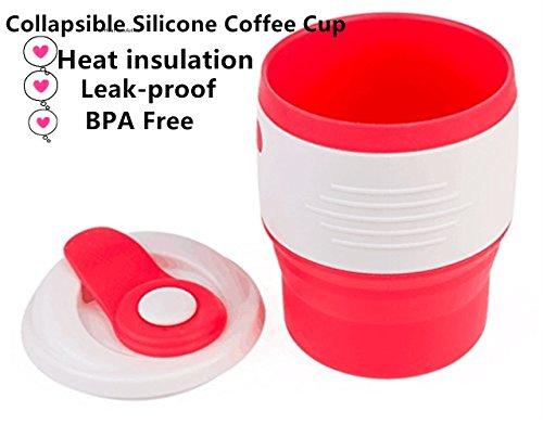 Silikon Faltbare kaffeetasse-Foldable Tee Cup / Reise Mug-Food Grade Silikon - Leck-Beweis Wiederverwendbare Faltbare,BPA frei -Beste für Büro, Haus und Geschenk (Rosa, Rot, 12.3Oz) (red)