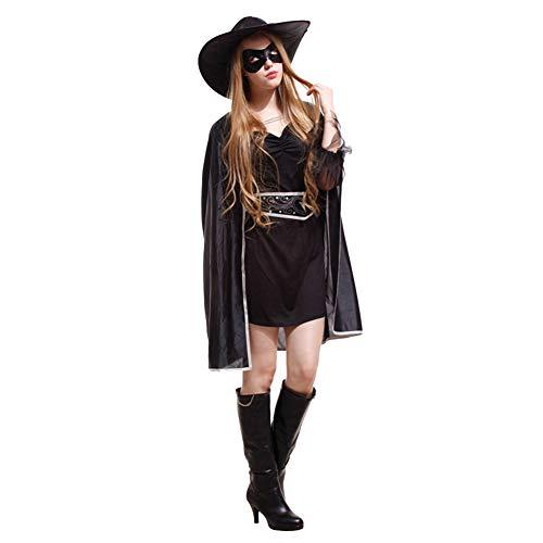 Kostüm Maskierte - AEIN Halloween Damenkostüm Kleider, Erwachsene Maske Cosplay Zorro Halloween Kostüm, Maskierte Ritterin, 100% Polyester-2