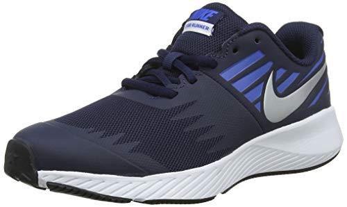 Nike Jungen Star Runner (GS) Laufschuhe, Mehrfarbig (Obsidian/Metallic Silver-Signal Blue 406), 37.5 EU (Nike Schuhe Training Kinder)